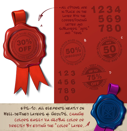 Vector Illustration of a wax seal with a set of stamps regarding Percent Off and Discount subjects. All design elements neatly on well-defined layers and groups