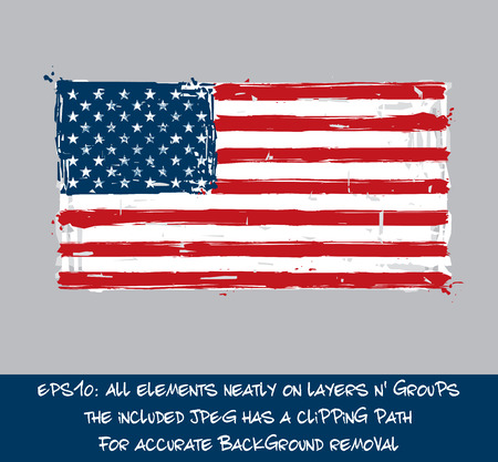 jpeg: American Flat Flag - Vector Artistic Brush Strokes and Splashes. Grunge Illustration, all elements neatly on layers and groups. The JPEG has a clipping path for accurate background removal