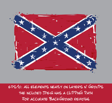 Confederate Rebel Flat Flag - Vector Artistic Brush Strokes and Splashes. Grunge Illustration, all elements neatly on layers and groups. The JPEG has a clipping path for accurate background removal Illustration