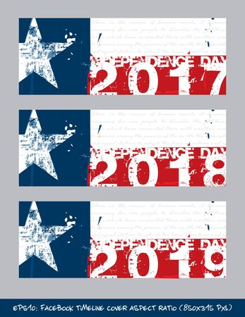 Vector illustration. Texan Flag Independence day timeline cover - Artistic Brush Strokes and Splashes. The gray text writes the first verse from the Declaration of Independence. Çizim
