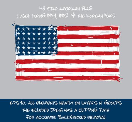 48 Star American Flat Flag - Vector Artistic Brush Strokes and Splashes Illustration