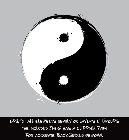 Artistic Vector Illustration of the Yin Yang East Asian religious symbol.  The included bitmap  preview has the exact subject's outline as clipping path for accurate background removal. Illustration