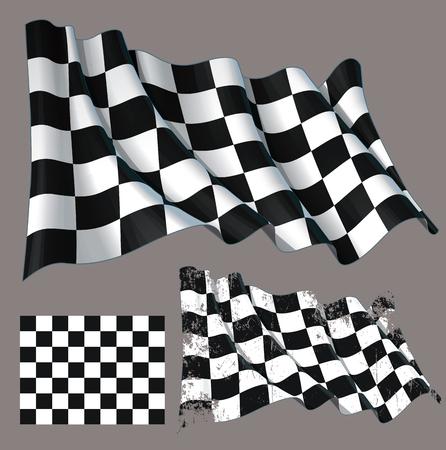 Vector illustratie van een motor race zwaaien finish checkers vlag. Elk element op een afzonderlijke laag met duidelijk gedefinieerde groepen en subgroepen. Gemakkelijk om kleuren te bewerken via Global Color