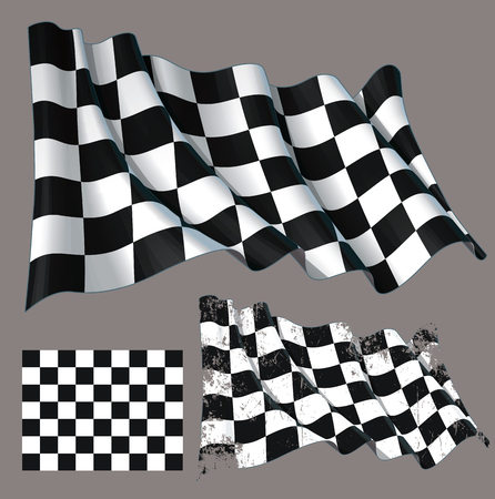 Vector illustration of a motor race waving finish checkers flag. Each element on a separate layer with well-defined groups and subgroups. Easy to edit colors via Global Color Banco de Imagens - 82050078