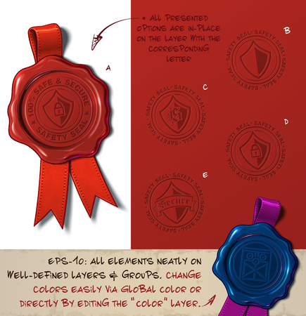 Vector Illustration of a wax seal with a set of stamps regarding Shield Safe and Secure subjects. All design elements neatly on well-defined layers and groups