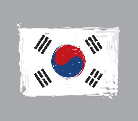 Bandiera piatta della Corea del Sud - vettoriali spazzole artistiche e spruzzi. Grunge Illustration, tutti gli elementi ordinatamente su strati e gruppi. Il JPEG ha un percorso di ritaglio per una rimozione accurata dello sfondo