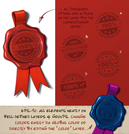 Vector Illustration of a wax seal with a set of stamps regarding Satisfaction Guarantee subjects. All design elements neatly on well-defined layers and groups