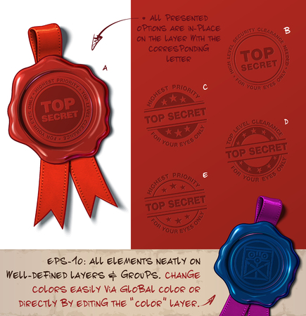 Vector Illustration of a wax seal with a set of stamps regarding  Top Secret subjects. All design elements neatly on well-defined layers and groups Illustration