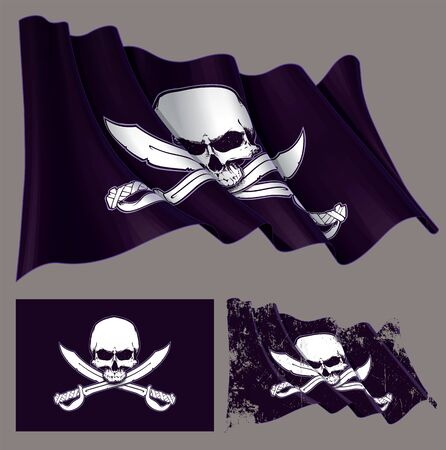 Vector illustration of the waving pirate flag, jawless  skull and crossed swords. Each element on a separate layer with well-defined groups and subgroups. Easy to edit colors via Global Color