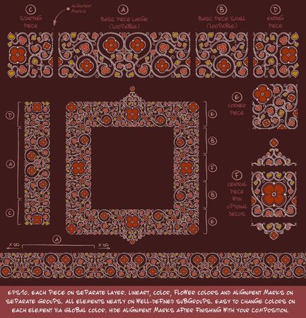 Flower Decorative building blocks to create Ornament compositions. EPS-10 all elements neatly on well-defined layers and groups. Easy to edit colors via Global Color. Illustration