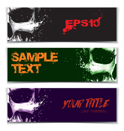 Vector illustration of an artistic render of a human skull. Set of 3 Banners with space for your text. Artwork, splashes and extra splashes text and drop shadow on separate layers.