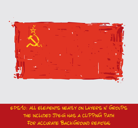 cold war: Soviet Union Flat Flag - Vector Artistic Brush Strokes and Splashes. Grunge Illustration of all elements. The JPEG has a clipping path for accurate background removal Illustration