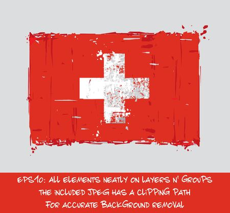 Swiss Flat Flag - Vector Artistic Brush Strokes and Splashes. Grunge Illustration, all elements neatly on layers and groups. The JPEG has a clipping path for accurate background removal