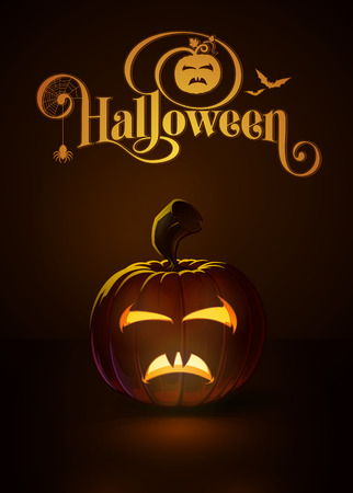 """bella: Vector illustration of a Bella Lagosi like jack-o-lantern glowing in the dark. Included a custom typography """"Halloween"""" based on the old Bodoni typeface. EPS10 All elements neatly on layers and groups Illustration"""