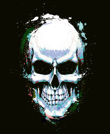 Artistic Vector illustration of a human skull. Artwork, splashes, extra splashes, text and drop shadow on separate layers.