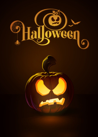 """Vector illustration of a Pissed Off jack-o-lantern glowing in the dark. Included a custom typography """"Halloween"""" based on the old Bodoni typeface. EPS10 All elements neatly on layers and groups"""