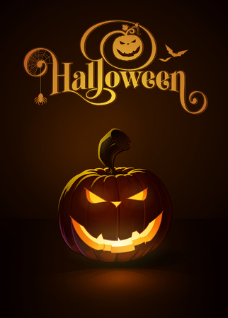 """Vector illustration of an Evil Smile jack-o-lantern glowing in the dark. Included a custom typography """"Halloween"""" based on the old Bodoni typeface. EPS10 All elements neatly on layers and groups"""