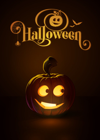 """Vector illustration of a Smarty jack-o-lantern glowing in the dark. Included a custom typography """"Halloween"""" based on the old Bodoni typeface. EPS10 All elements neatly on layers and groups"""