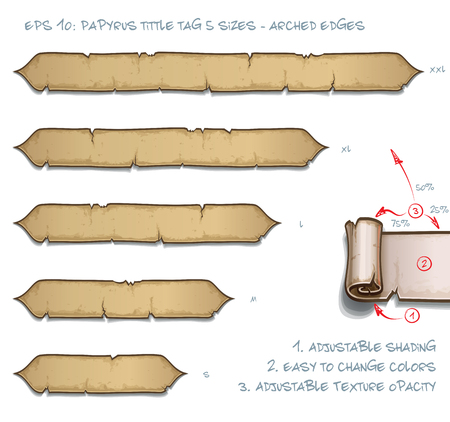 Vector Illustration of a Papyrus Tittle Scroll Tag with Arched Edges. Set of five sizes Small Medium Large and two Extra Large. All elements neatly on well-defined Layers and Groups