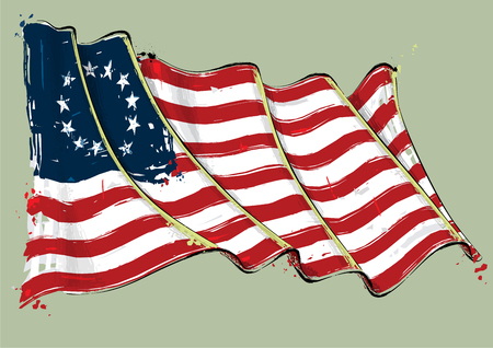 Vector grange Illustration of an American Revolution Betsy Ross waving Flag. All elements neatly on well defined layers