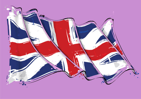 Vector grange Illustration of a waving Union Jack of the period 1606-1801 also named and The Kings Colors. This was the British flag design during the American Revolution