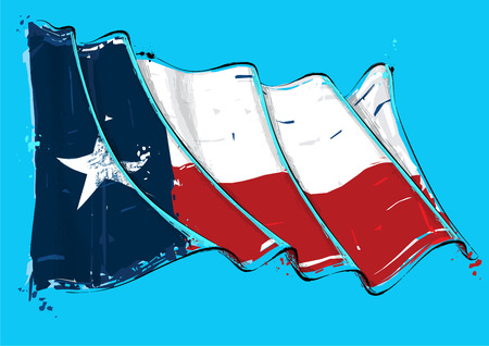 Vector grange Illustration of a Texan waving Flag. All elements neatly on well defined layers