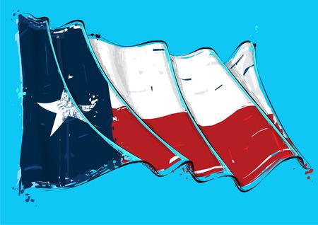Vector grange Ilustración de una bandera ondeante de Texas. Todos los elementos perfectamente en capas bien definidas.