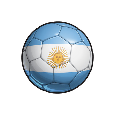 Vector Illustration of a Football – Soccer ball with the Argentinian Flag Colors. All elements neatly on well defined Layers Vettoriali