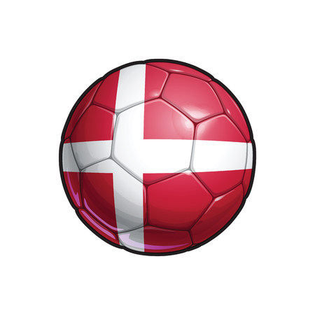 Vector Illustration of a Football – Soccer ball with the Danish Flag Colors. All elements neatly on well defined Layers 向量圖像