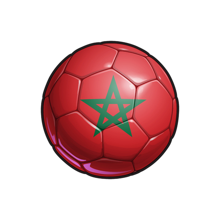 Vector Illustration of a Football – Soccer ball with the Moroccan Flag Colors. All elements neatly on well defined Layers