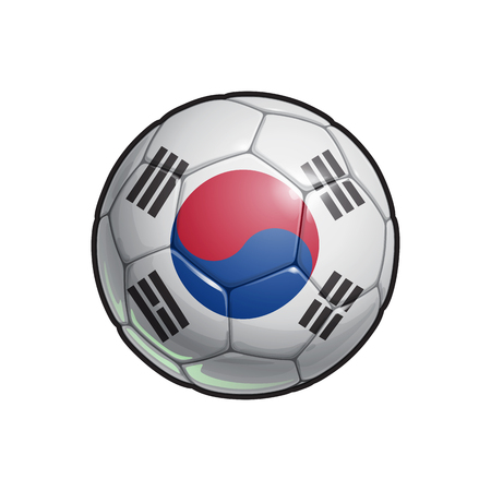 Vector Illustration of a Football – Soccer ball with the South Korean Flag Colors. All elements neatly on well defined Layers
