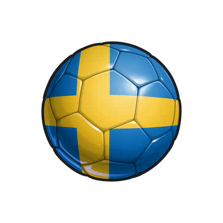 Vector Illustration of a Football – Soccer ball with the Swedish Flag Colors. All elements neatly on well defined Layers