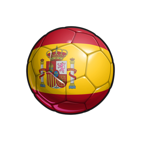 Vector Illustration of a Football – Soccer ball with the Spanish Flag Colors. All elements neatly on well defined Layers