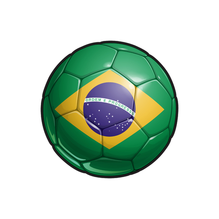 Vector Illustration of a Football – Soccer ball with the Brazilian Flag Colors. All elements neatly on well defined Layers