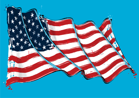 Vector grange Illustration of an American waving Flag. All elements neatly on well defined layers Illustration