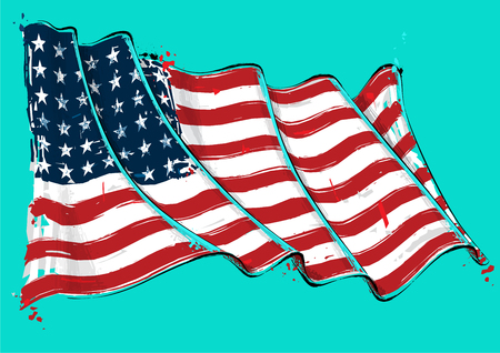 Vector grange Illustration of a 48 Star American waving Flag. This was the USA flag during WWI, WWII and the Korean war. All elements neatly on well defined layers Illustration