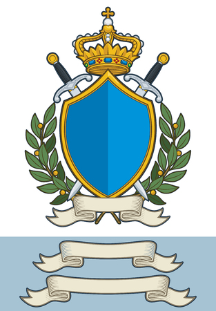 Cartoon Vector Illustration of a Royal Crest with a Kings Crown a Shield two Swords two olive branches and a blank Scroll. All elements on well-defined layers. Two additional Scroll sizes are included Illustration