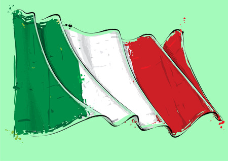 Vector grange Illustration of an Italian waving Flag. All elements neatly on well defined layers Vector Illustratie