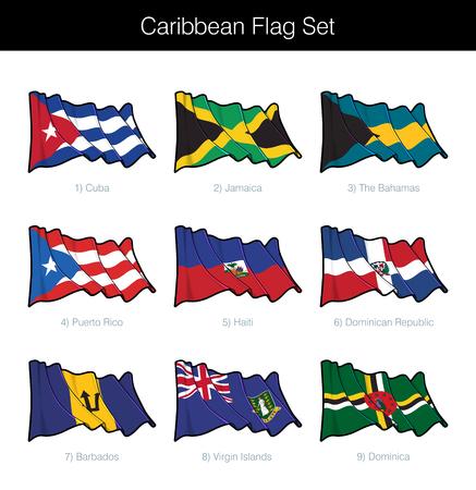 Jeu de drapeau ondulant des Caraïbes. L'ensemble comprend les drapeaux de Cuba, de la Jamaïque, des Bahamas, de Porto Rico, d'Haïti, de la République dominicaine, de la Barbade, des îles Vierges britanniques et de la Dominique. Icônes vectorielles parfaitement sur les calques