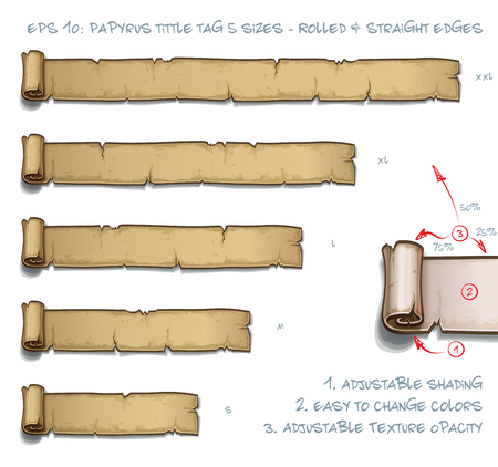 Vector Illustration of a Papyrus Tittle Scroll Tag with Rolled and Straight Edges. Set of five sizes Small Medium Large and two Extra Large. All elements neatly on well-defined Layers and Groups  イラスト・ベクター素材