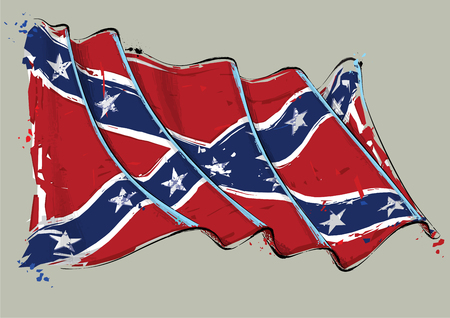 Vector grange Illustration of a waving Confederate Rebel Battle Flag. All elements neatly on well defined layers