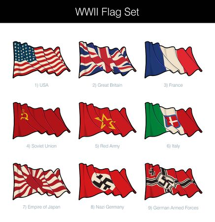 World War Two Waving Flag Set. The set includes flags from all the major Axis and Allies participants. Vector Icons all elements neatly on Layers n Groups. Sepia overlay on a separate layer