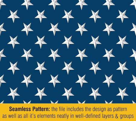 Vector Seamless Pattern of the Stars of the American Flag Embossed. The file includes the design as pattern as well as all its elements neatly on well defined layers and groups