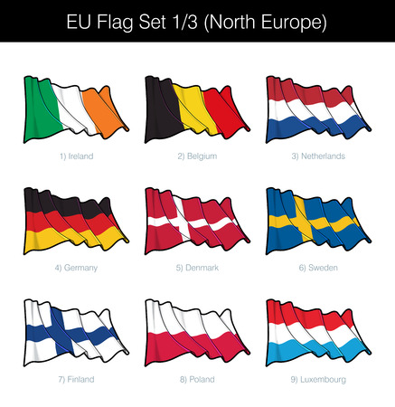 EU Waving Flag Set of North European States. The set includes the flags of Ireland, Belgium, Germany, Netherlands, Denmark, Sweden, Finland, Poland and Luxembourg. Vector Icons neatly on Layers Illustration
