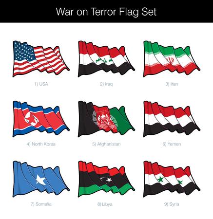 Guerra contra el terrorismo ondeando la bandera. El conjunto incluye las banderas de Estados Unidos, Irak, Irán, Corea del Norte, Afganistán, Yemen, Somalia, Libia y Siria. Iconos vectoriales todos los elementos perfectamente en Capas n Grupos Ilustración de vector