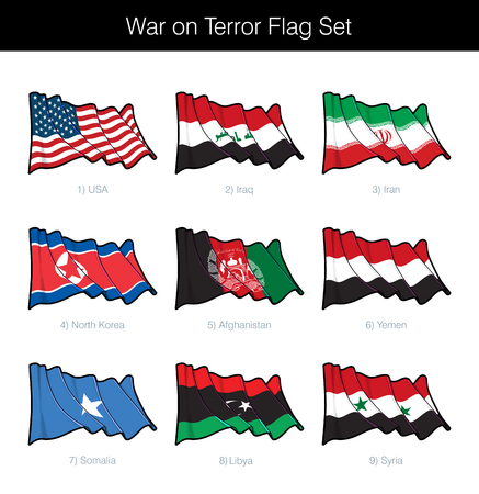 War on Terror Waving Flag Set. The set includes the flags of USA, Iraq, Iran, North Korea, Afghanistan, Yemen, Somalia, Libya and Syria. Vector Icons all elements neatly on Layers n Groups