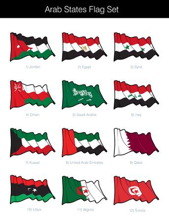 Conjunto de banderas ondeantes de los Estados árabes. El conjunto incluye las banderas de Jordania, Egipto, Siria, Omán, Arabia Saudita, Irak, Kuwait, Emiratos Árabes Unidos, Qatar, Libia, Argelia y Túnez. Iconos vectoriales, elementos perfectamente en capas