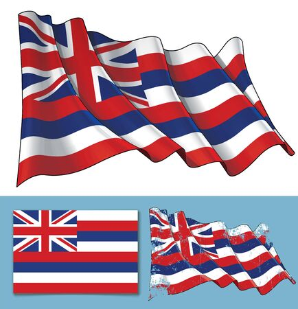 Vector illustration of a Waving Flag of the State of Hawaii. A textured version and the Flat Flag design are included. All elements neatly on well-defined layers ang groups.