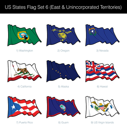 US States Flag Set - East States, Free Associated and Unincorporated Territories. Washington State, Oregon, Nevada, California, Alaska, Hawaii, Puerto Rico, Guam n US Virgin Islands flags are included  イラスト・ベクター素材
