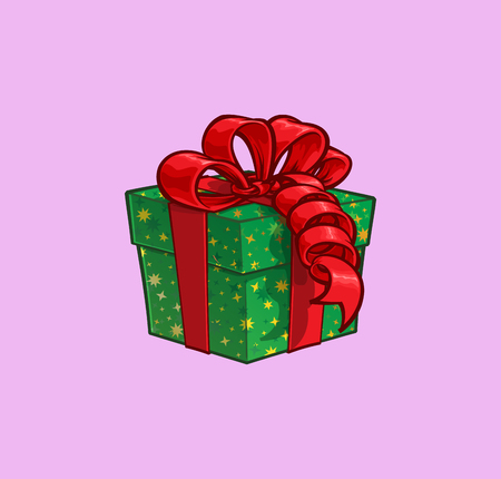 Cartoon Illustration of a Green Present Box with Red Ribbon Bow. Vector Icon: Lines, Color, Shadows and Lights neatly in well-defined layers & groups 일러스트